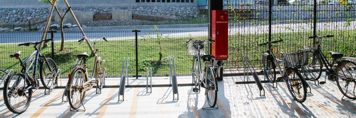 Photo of bike racks at OIST